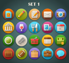 Round Bright Icons with Long Shadow Set 1