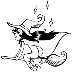 Vector illustration. Cute witch. Black outline sketch