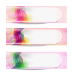 set of three vector abstract banner and transparent area