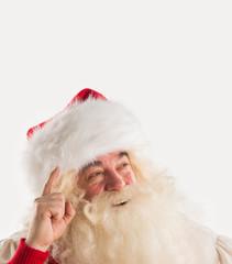 Portrait of happy Santa Claus have an idea