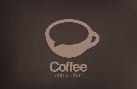 Logo Coffee cup chat vector. Creative design cafe idea