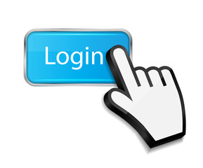 Mouse hand cursor on login button vector illustration
