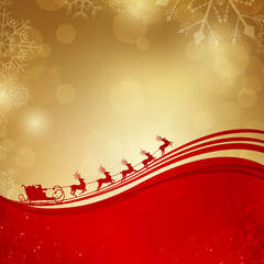 Vector Christmas Background with Santa Claus Driving in a Sledge