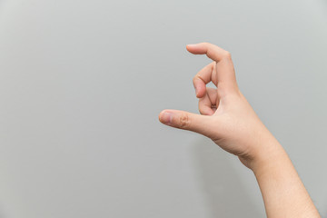 Hand holding imaginary card