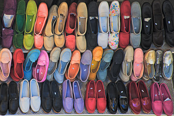 Positano, Amalfi Coast, shop of handmade shoes outdoors