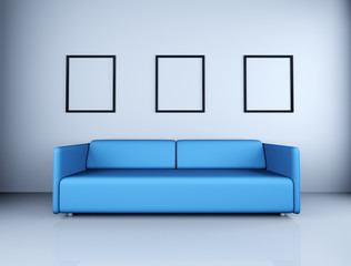 Blue couch and picture frames