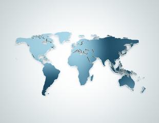 Acrylic Prints World Map World map blue 3d