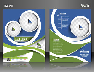 Vector Front & Back Call Center Flyer Magazine Cover