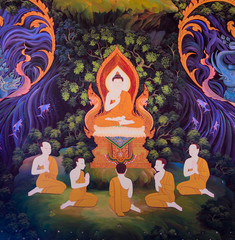 Traditional Thai mural painting of the Life of Buddha (Instructi