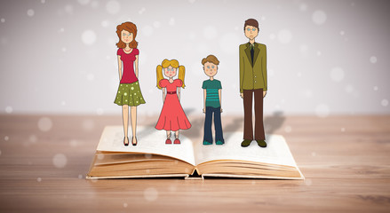 Wall Mural - Drawing of a happy family on opened book
