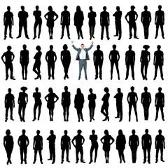 Business people silhouettes, unique concept
