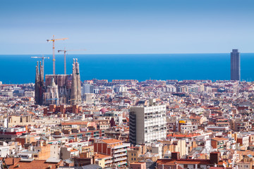 Photo sur Toile Europe Centrale Barcelona with Basilica and Expiatory Church of the Holy Family