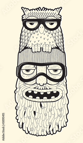 Wall mural bearded man in ski-glasses with owl on his head