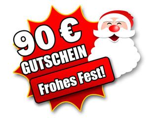 """Siegel """"90 Euro Gutschein - Frohes Fest!"""""""