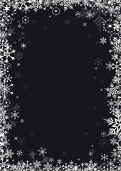 White snowflakes on black background vector frame