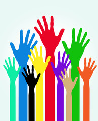 colorful silhouette hands background