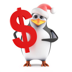 Santa Penguin holds a US Dollar sign