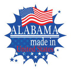 Label with flag and text Made in Alabama, vector