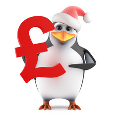 Santa Penguin holds a UK Sterling symbol
