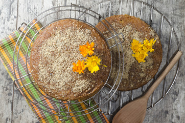 Wall Mural - Pumpkin cake with spiced and ground walnuts