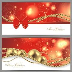 2 Weihnachtskarten in rot
