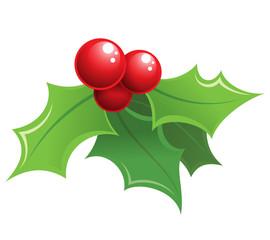 Cartoon shiny Christmas holly decorative ornament