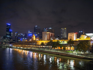 central melbourne skyline at night australia