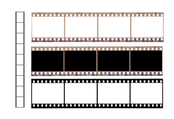 Set of used camera film with blank spaces