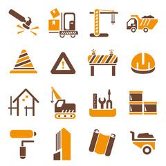 construction icons set, orange theme