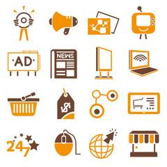 online, internet marketing icons, orange theme