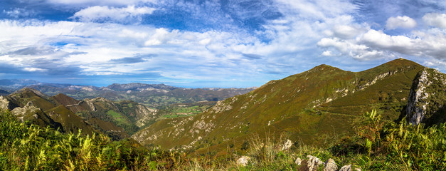Panoramic of the range of mountains Peaks of Europe in Asturias