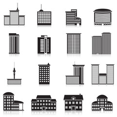 Icons city buildings, offices, schools
