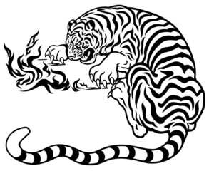 tiger with fire black white