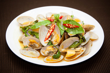 stir fried clams with roasted chili paste, Thai food