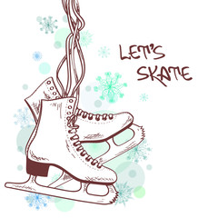 Winter illustration with skates