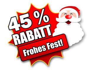 "Siegel ""45 Prozent Rabatt - Frohes Fest!"""
