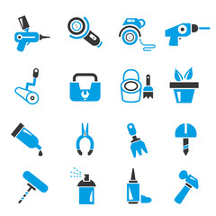 garden gadget, and tool icons, blue theme