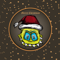 doodle style monster. merry christmas creative card