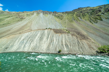 Fototapete - Green water of Kekemeren river, Tien Shan