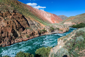 Wall Mural - Rapid river Kekemeren, Tien Shan, Kyrgyzstan