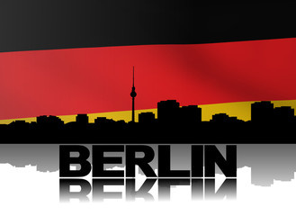 Berlin skyline and text with rippled German flag illustration