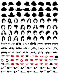Silhouettes of mustaches, hats, glasses, hair, lips and pipe