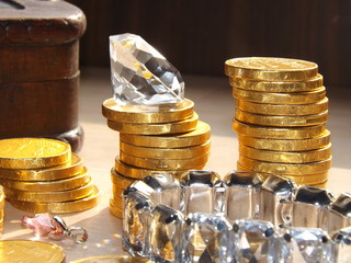 Gold coins and gems Macro