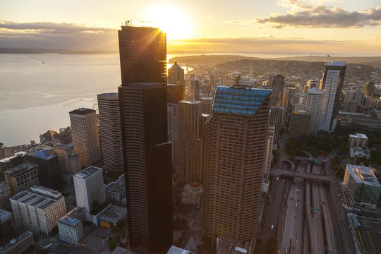 Aerial Photo City Skyline, Seattle, Washington, USA