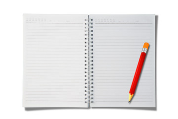 open blank notebook with red pencil