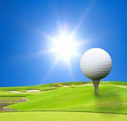 golf course with beautiful sky and sun