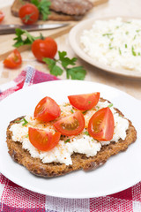 sandwich with homemade cottage cheese, pepper, herbs and cherry