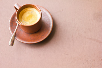 coffee on brown table background