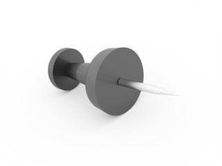 Single black push pin rendered isolated
