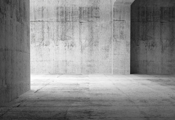 Empty dark abstract concrete room interior. 3d illustration